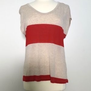 Soft Joie Striped Top Orange and Tan Size Small